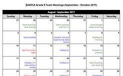 SAMPLE DATA TEAM CALENDAR
